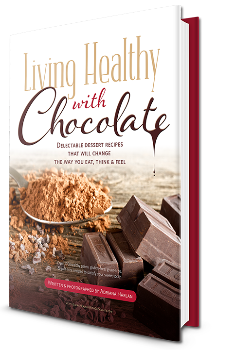 cover of the dessert recipe e-book Living Healthy with Chocolate