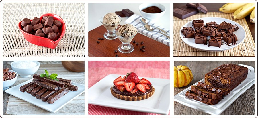variety of desserts from ebook Living Healthy with Chocolate by Adriana Harlan