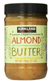 close up of a jar of Kirkland Almond butter