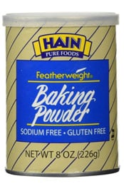 close up of a package or Hain Pure Foods featherweight baking powder