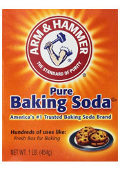 close up a box of Arm and Hammer Pure baking soda