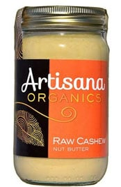 close up of a jar of Artisana Organics Raw cashew nut butter