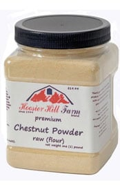 container of premium chestnut powder raw flour