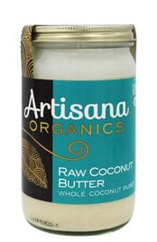 close up of a jar of Artisana Organics Raw Coconut Butter