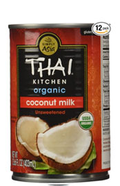 close up of a can of Thai Kitchen brand organic coconut milk