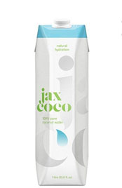 cardboard container of Jax coconut water