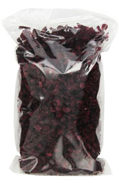 clear package filled with dried cranberries