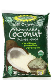 bag of 100 percent organic shredded coconut