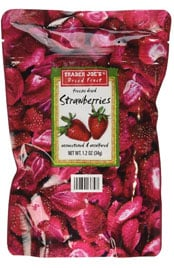 package of Trader Joes freeze dried strawberries
