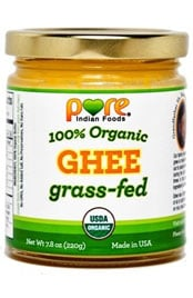 close up of a jar of 100 percent organic grass-fed Ghee