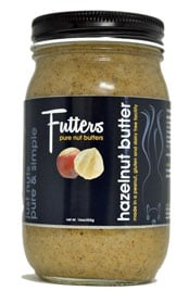 close up of a jar of Futters hazelnut butter