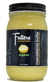 close up of a jar of Futters macadamia butter