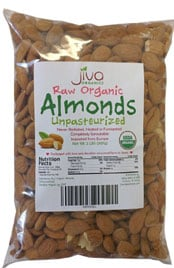 bag of raw organic almonds