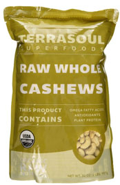 close up of a package or raw whole cashews