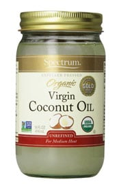close up of a jar of Spectrum Organic Virgin Coconut oil