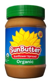 close up of jar of SunButter organic sunflower spread