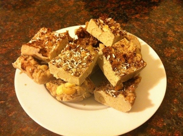 plate of paleo cacao coconut bars