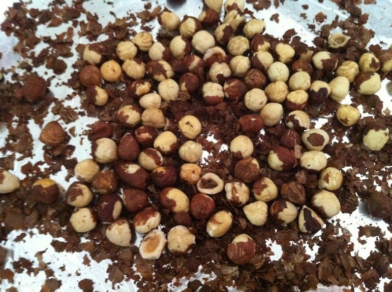 close up of a pile of hazelnuts for making homemade hazelnut butter