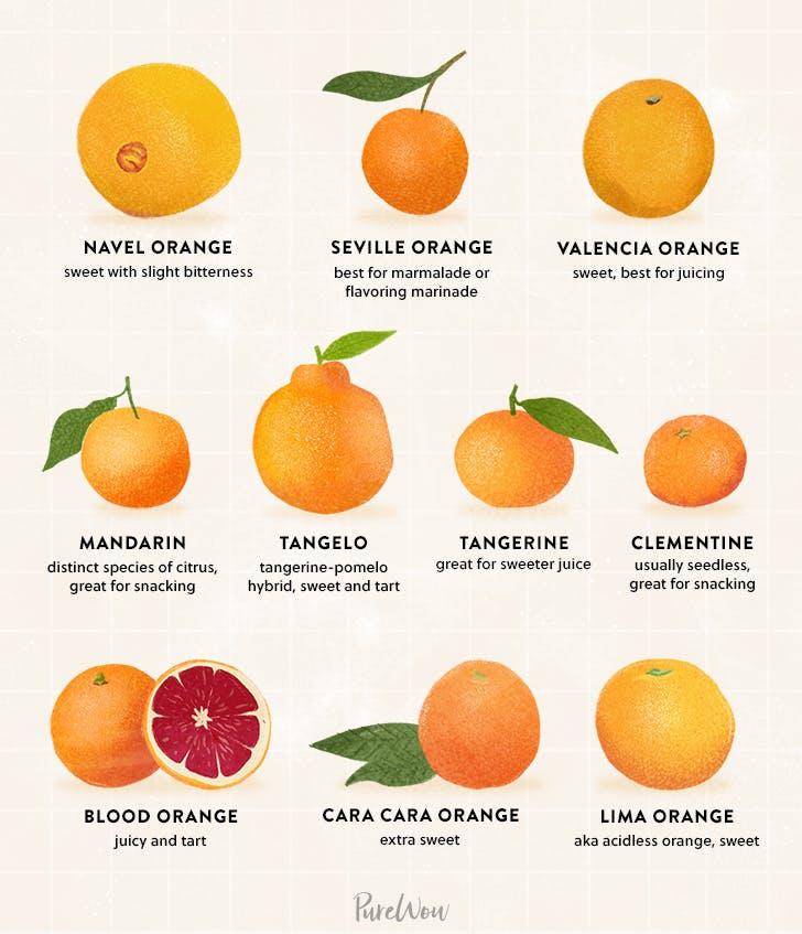 chart displaying them types of oranges