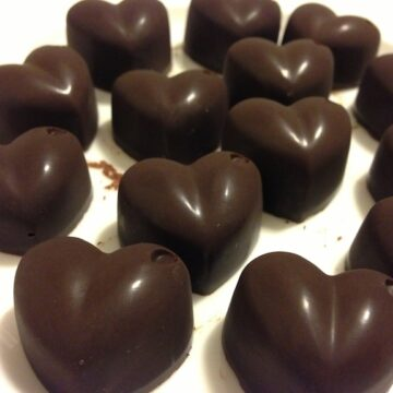 close up of heart shaped homemade paleo chocolates