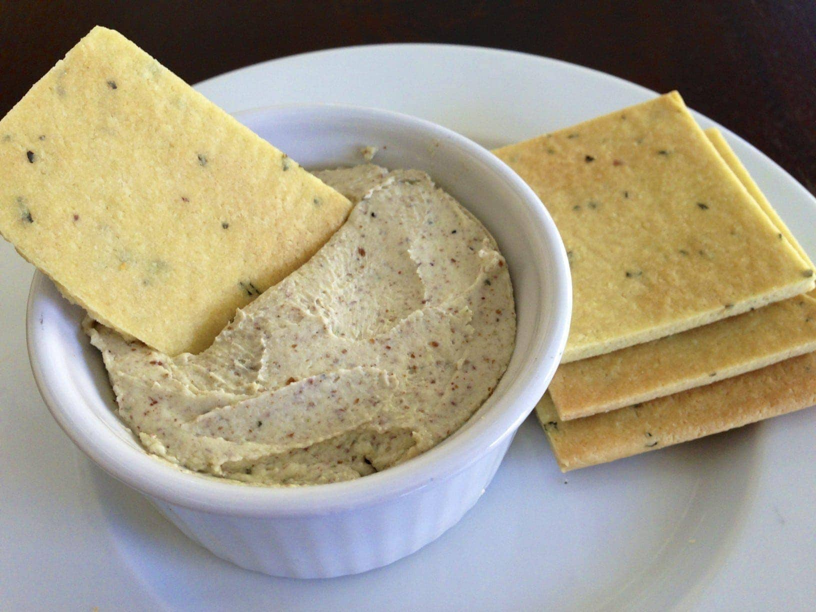 Roasted Garlic Basil Cheese Dip and Homemade Gluten Free Basil Crackers