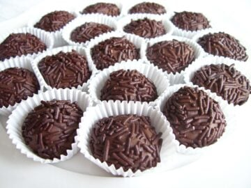close up of numerous Brazilian chocolate  truffles also known as Brigadeiro