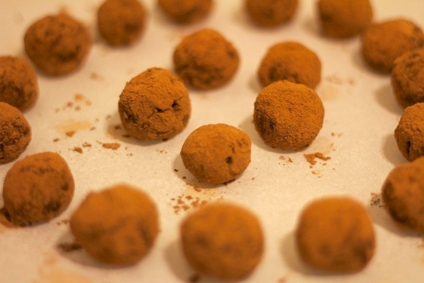 close up of dairy free Brazilian chocolate truffle known as Bridadeiro