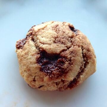 close up of homemade Chocolate chip cookie with homemade chocolate chunks