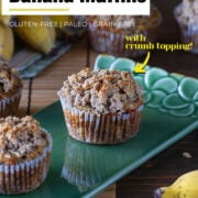 two banana muffins with crumb topping on green plate around some yellow bananas