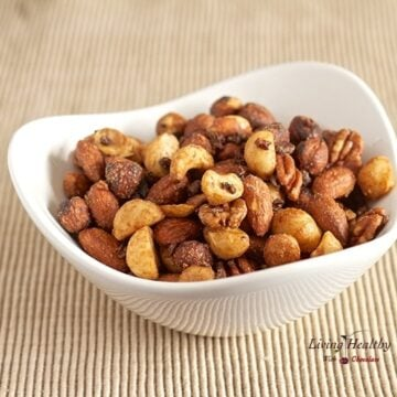 bowl of mixed nuts used in making cacao nut cluster