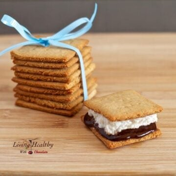 wooden cutting board with one paleo s'mores dessert treat with stack of homemade graham crackers with blue bow