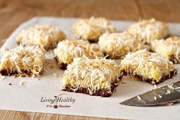 Paleo Pineapple Coconut Bars With Chocolate Macadamia Nut Crust