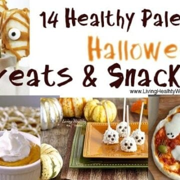 banner showing 14 healthy paleo halloween  treats and snacks