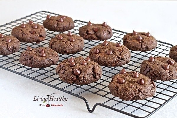 Paleo Nutella Filled Double Chocolate Chip Cookies