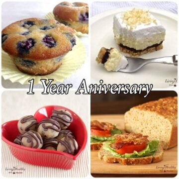 four different recipes on a poster for a one year anniversary for living healthy with chocolate