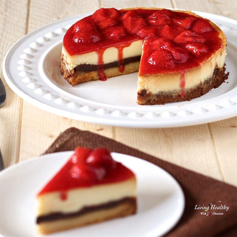 White Chocolate Cheesecake With Strawberry Sauce