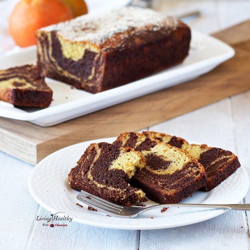 Chocolate Orange Marble Cake (gluten-free, Paleo) by #LivingHealthyWithChocolate