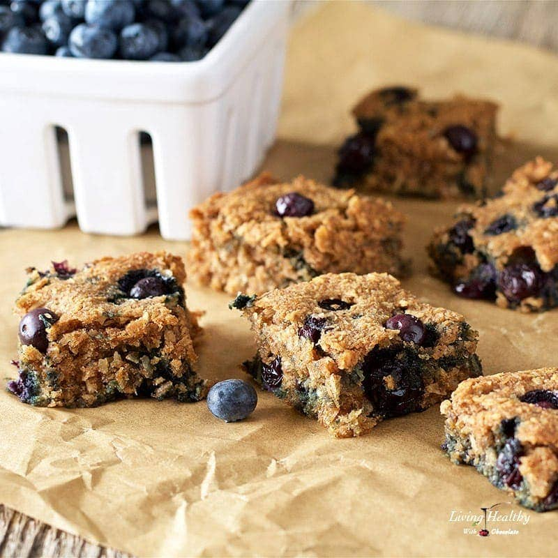 Soft Baked Blueberry Squares Gluten Free Paleo