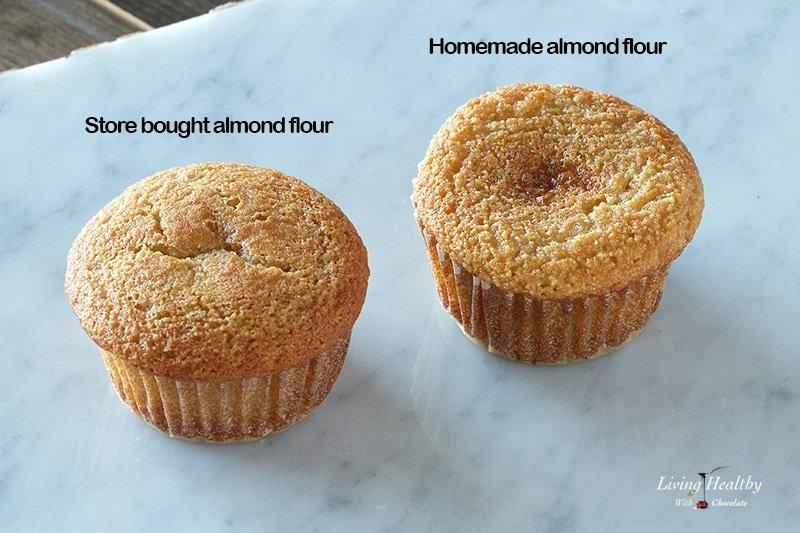 two almond flour muffins on marble table showing the difference between store bought and homemade almond flour