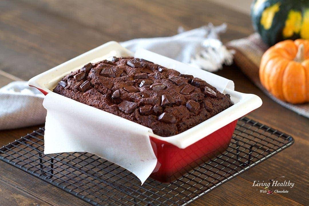Chocolate Pumpkin Bread (gluten/grain/dairy-free, Paleo) by #LivingHealthyWithChocolate