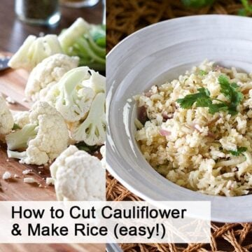 raw cauliflower florets on left and cauliflower rice in a bowl on right