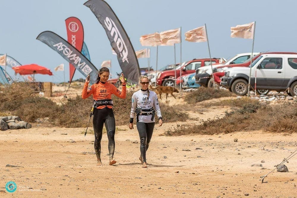 Adriana Harlan and Moona Whyte Kitesurfing World Tour event, Cabo Verde.