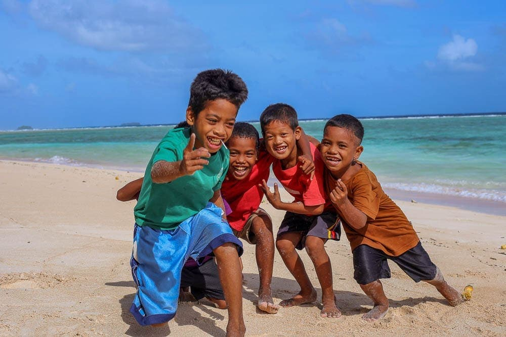 Kids at the beach, Marshall Islands