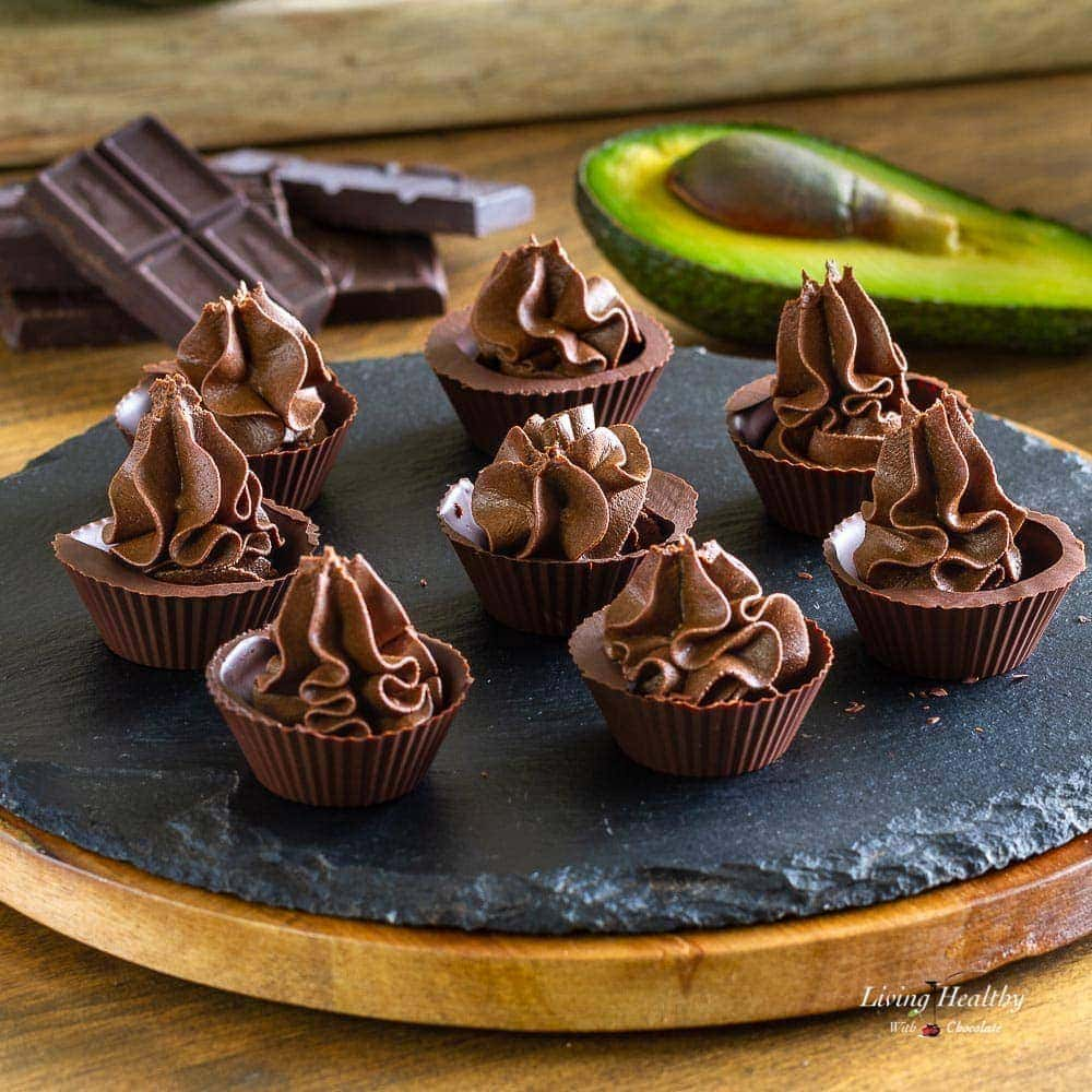 A plate of Avocado Chocolate Mousse served in Chocolate Cups.