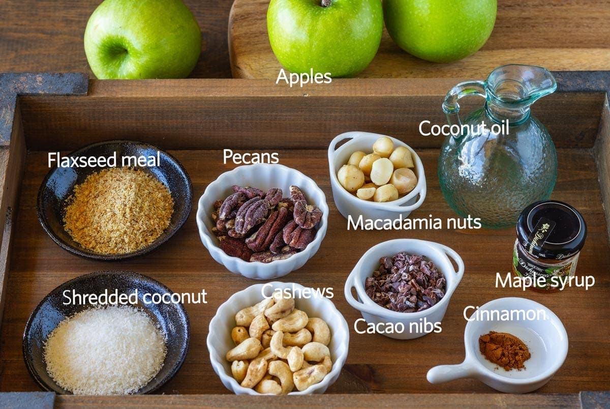 Ingredients in a tray to make the apple crisp recipe