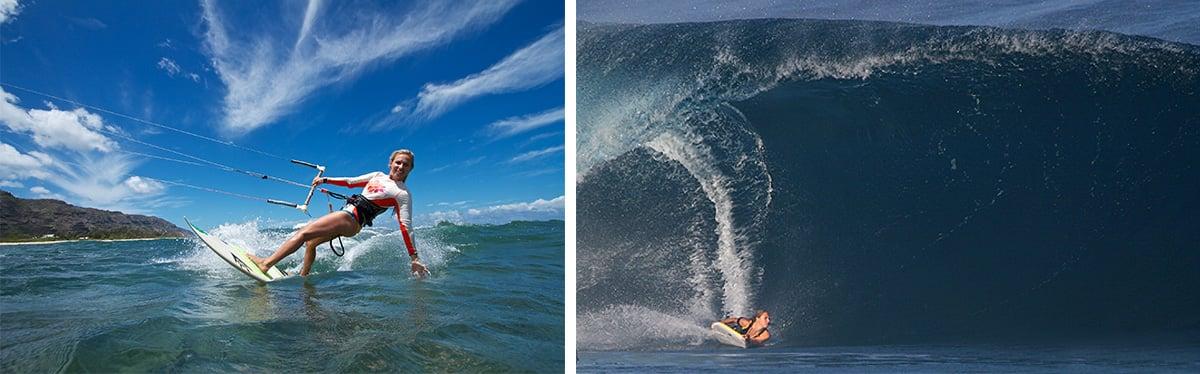 Adriana kitesurfing and bodyboarding big wave