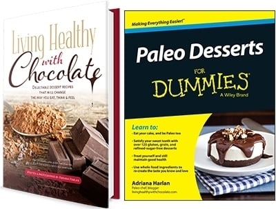 Living Healthy with Chocolate ebook cover and Paleo Desserts for Dummies book