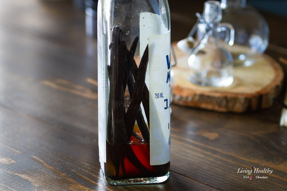 bottle of vodka filled with vanilla beans and vodka