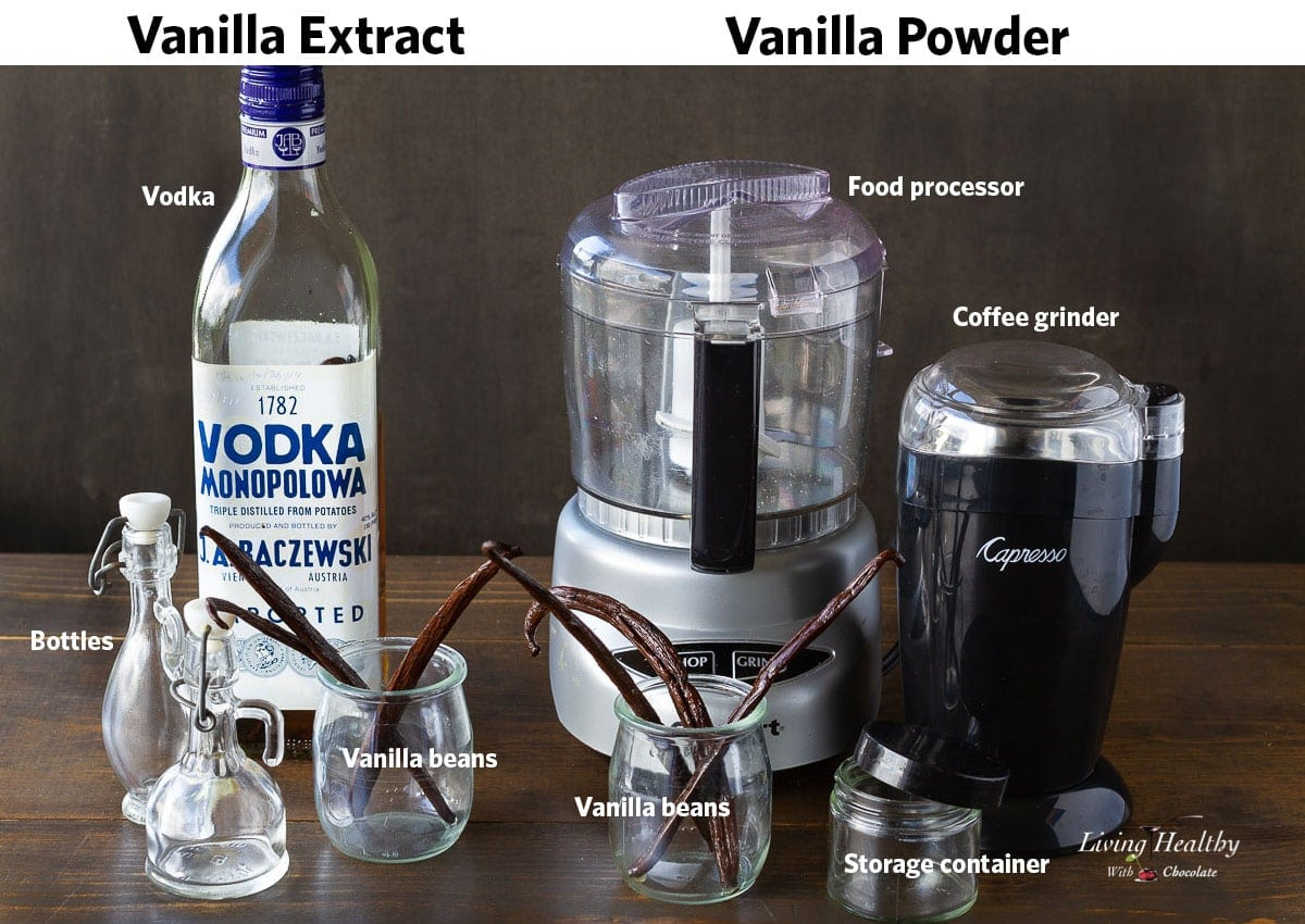 ingredients and tools used for making vanilla extract and vanilla powder