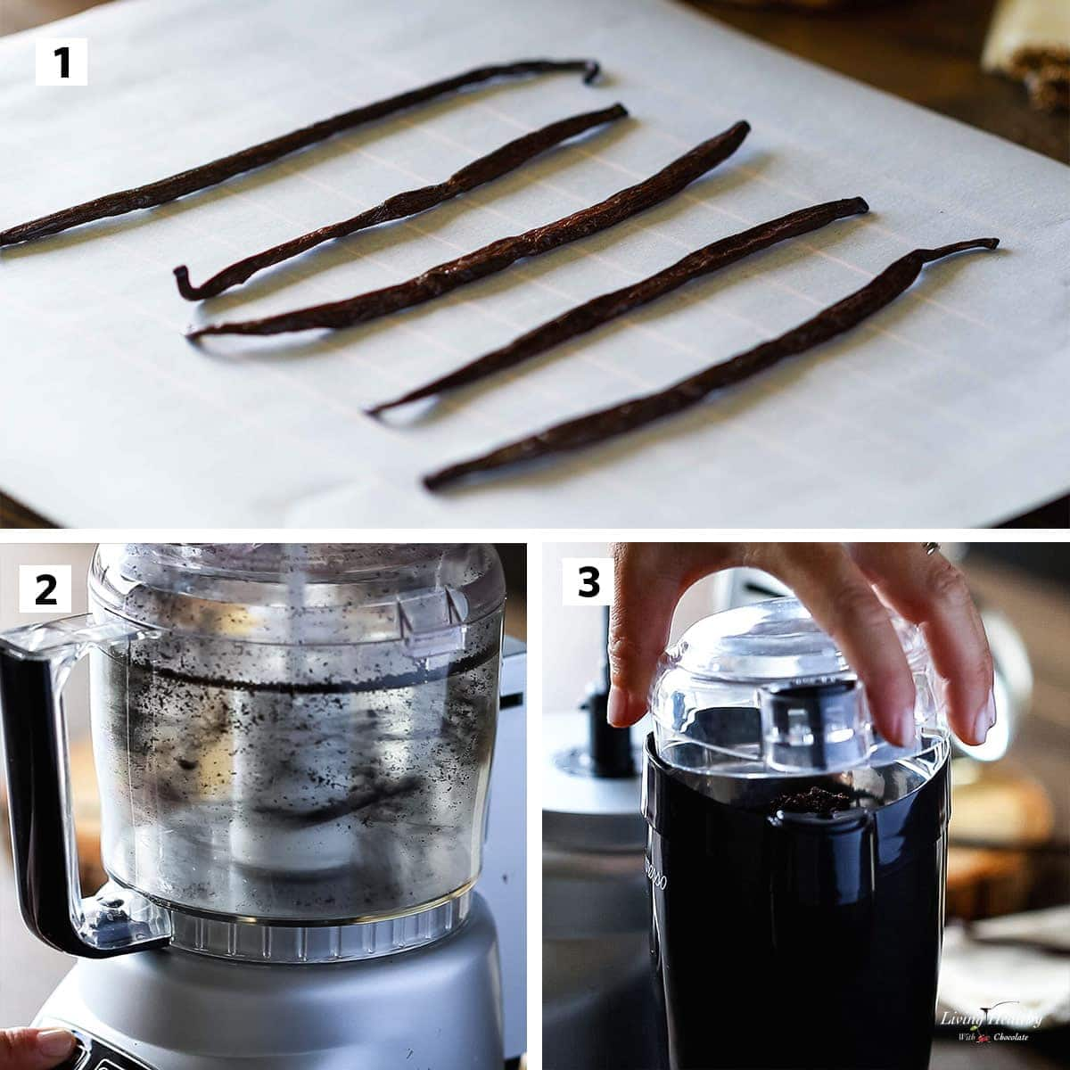 3 steps collage showing how to make vanilla powder in food processor and coffee grinder